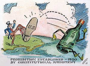 PROHIBITION CARTOON. American cartoon on the establishment of Prohibition in the