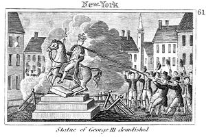 Protesters in New York pull down the statue of King George III after reading the