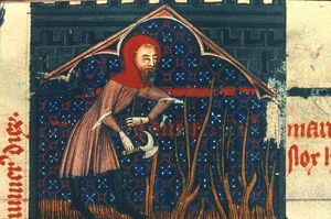 PRUNING GRAPE VINES in March: illumination from a late 14th century French psalter