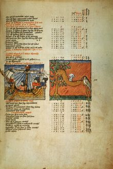PTOLEMY: ALMAGEST, 1490. List of star positions from an English ms