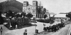 PUERTO RICO: GUAYAMA, 1898. The Plaza and Cathedral at Guayama, Puerto Rico. Photograph