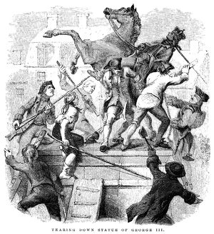 Pulling down the statue of George III in New York after the reading of the Declaration