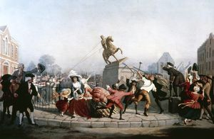 Pulling down the statue of King George III in New York. Oil on canvas by William Walcutt