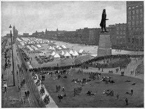 PULLMAN STRIKE, 1894. Camp of U.S. Army troops on the lakefront in Chicago during