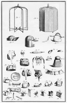 PURSE-MAKING, 18th CENTURY. Accessories used by a purse-maker. Line engraving, French