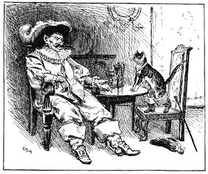 PUSS IN BOOTS, 1891. Pen-and-ink drawing, 1891, by George Percy Jacomb Hood for the