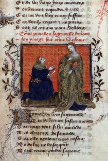 PYGMALION. Pygmalion falling in love with his sculpture: French ms. illumination, c1405