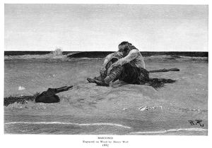PYLE: MAROONED, 1887. Wood engraving by Henry Wolf after an illustration by Howard Pyle