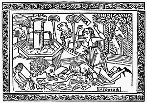 PYRAMUS AND THISBE. Woodcut, 1494, from a book of romances