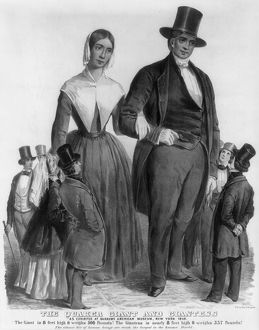 QUAKER GIANTS, 1849. The Quaker giant and giantess, exhibited at P