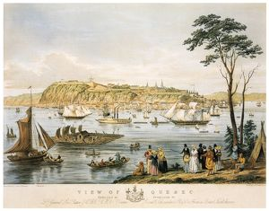 QUEBEC: SKYLINE, c1844. Quebec City viewed from Saint Lawrence River. Lithograph, c1844