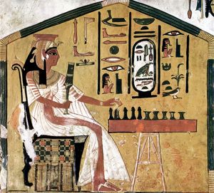 Queen Nefertari playing chess: fresco from the tomb of Nefertari, Thebes, 13th century B.C.