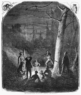 RACCOON HUNTERS, 1867. Men chopping down a tree so that their dogs can catch the