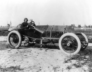 RACECAR DRIVERS, c1913. Two drivers in a racecar. Photograph, c1913