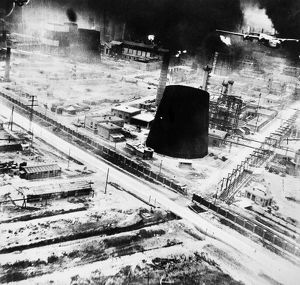 The raid by American B-24 bombers on the oil refineries at Ploesti, Romania, May 1944.