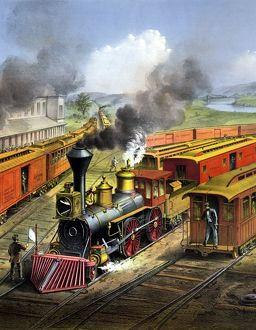 RAILROAD, 1874. 'American railroad scene: Lightning Express trains leaving the