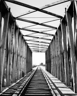 RAILROAD BRIDGE: RED RIVER. Looking west through the original Northern Pacific Railroad