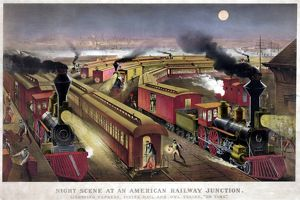 RAILROAD JUNCTION, c1876. 'Night scene at an American railway junction
