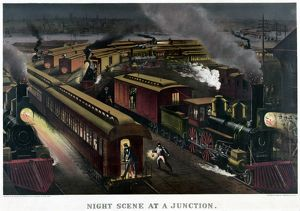 RAILROAD JUNCTION, c1885. 'Night scene at a junction