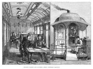 RAILROAD: SALOON & KITCHEN. A smoking saloon and a kitchen on the Great Northern