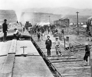 RAILROADING: CONSTRUCTION. Camp of the Central Pacific Railroad in Victory, Utah
