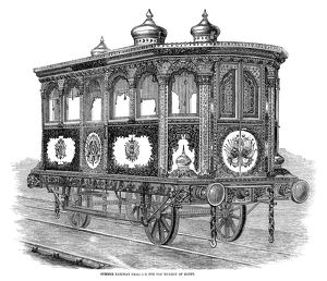 RAILWAY CARRIAGE, 1858. The summer railway carriage for the Viceroy of Egypt
