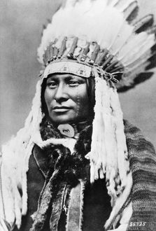 RAIN-IN-THE-FACE (c1835-1905). Native American Lakota Sioux chief. Photograph, c1880