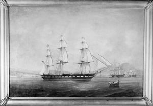 THE RANGER, 1777. Painting of the 'Ranger,' sloop-of-war in the Continental Navy