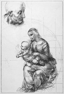 RAPHAEL: MADONNA. Study by Raphael, c1515, for his 'Madonna del Passeggio.'