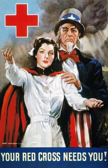 'Your Red Cross Needs You.' American World War II poster by James Montgomery Flagg