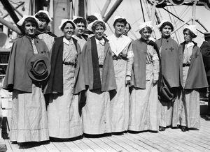 RED CROSS NURSES, 1914. Nurses on the deck of the 'Red Cross' bound for Europe