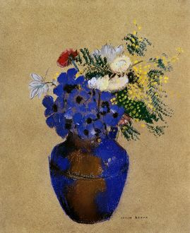 REDON: VASE OF FLOWERS. Pastel drawing by Odilon Redon (1840-1916).