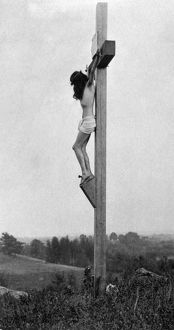 A reenactment of the crucifixion of Jesus. Photographed by Fred Holland Day, 1898.