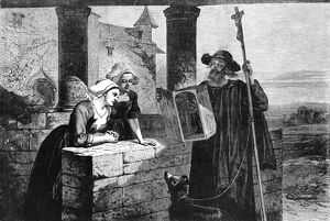 RELIC VENDOR, 1868. 'The blind relic vendor at the castle.' Engraving, 1868