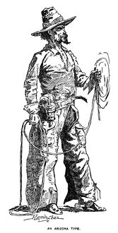 REMINGTON: COWBOY, 1887. 'An Arizona Cowboy.' Drawing, 1887, by Frederic Remington