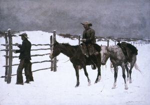 REMINGTON: FALL, 1895. Frederic Remington: The Fall of the Cowboy. Oil on canvas, 1895.