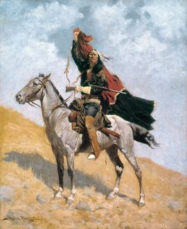 REMINGTON: SIGNAL, c1896. The Blanket Signal: oil on canvas, c1896, by Frederic Remington.