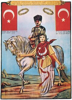 REPUBLIC OF TURKEY: POSTER. The Republic of Turkey symbolized as an unveiled woman, leading the horse of the regime's founder, Mustafa Kemal Ataturk. Poster, c1925.