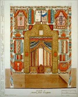 RETABLO, 1816. Architectural drawing for the retablo in El Santuario de Chimayo in Chimayo