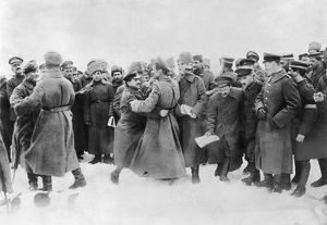 REVOLUTION OF 1917. Russian and German soldiers fraternizing after the armistice