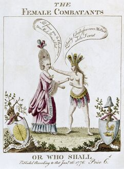 REVOLUTIONARY WAR CARTOON. 'The Female Combatants - or Who Shall.' English cartoon