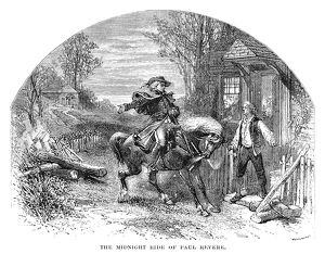 On his ride from Boston to Lexington, April 18, 1775. Line engraving, 19th century