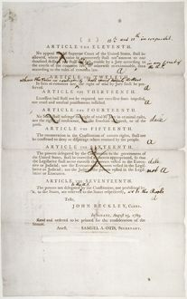 BILL OF RIGHTS, 1789. Draft of the Bill of Rights; Senate revisions to the house-passed