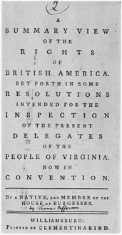 RIGHTS OF BRITISH AMERICA. Cover of Thomas Jefferson's 'A Summary View of