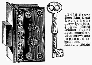 RIM DEAD LOCK, 1895. Advertisement from a Montgomery Ward and Company catalogue of 1895