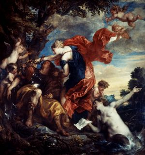 RINALDO AND ARMIDA. Oil on canvas, 1629, by Anthony van Dyck