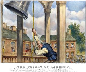 Ringing the Liberty Bell at the State House in Philadelphia, Pennsylvania, on 4 July 1776
