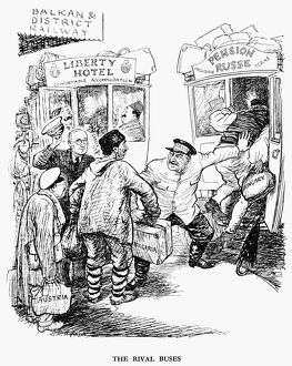 'The Rival Buses.' English cartoon by Ernest Howard Shepard from 'Punch
