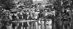 african american history/river baptism c1900 crowd observing river baptism