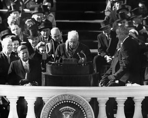 American poet. Reciting a poem at the inauguration of President John F